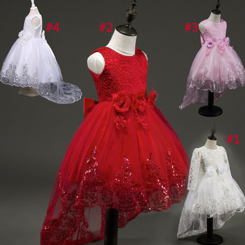 2017 Girls Flower Pageant Dress Children Kids Girl Lace Tutu Princess Dresses For Evening Party Wedding @ZJF girls dress 2017 new summer flower kids party dresses for wedding children s princess girl evening prom toddler beading clothes