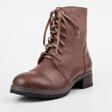 women carving brogue shoes female vintage head layer calf real leather boots lady lace up motorcycle boot femme martin boots