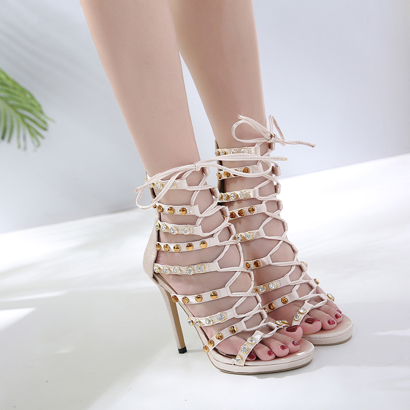 Aliexpress.com   Buy TINGHON Women Sandals Sexy Rivet High Heels Crystal  Thin High Heels Gladiator Hollow out Lace Up Fashion Summer Party Shoes  from ... 077ddab807a2