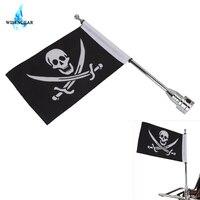 WISENGEAR Cool Black Skull Pirate Flag Banner + Chrome Flag Pole For Harley Custom Universal Motorcycle Adjustable Mount Luggage