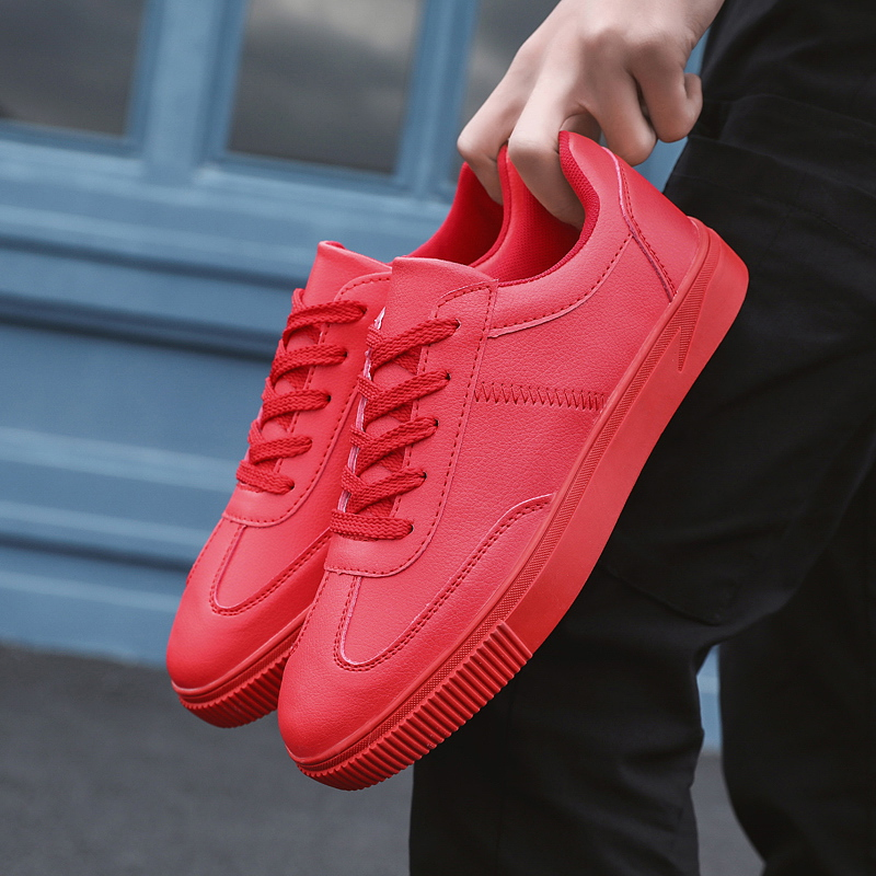 Men 2019 Casual PU Leather High Quality Shoes Lace up Spring Autumn Solid Skateboard Shoes Big Size 39 44 High Quality Shoes in Men 39 s Casual Shoes from Shoes