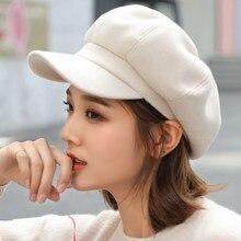 ea408e1ef03cb Auutmn Winter Hats for Women Solid Plain Octagonal Newsboy Cap Men Ladies  Casual Wool Hat Winter Beret Women Painter Cap