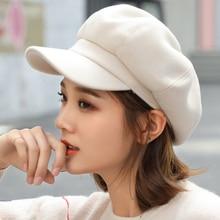 Auutmn Winter Hats for Women Solid Plain Octagonal Newsboy Cap Men Ladies Casual Wool Hat