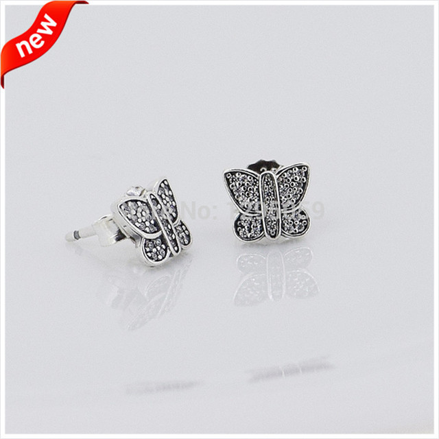 Fits European Style Jewelry Butterfly Silver Stud Earrings for Women 925 Sterling Silver Fashion Jewelry Wholesales FLE15014