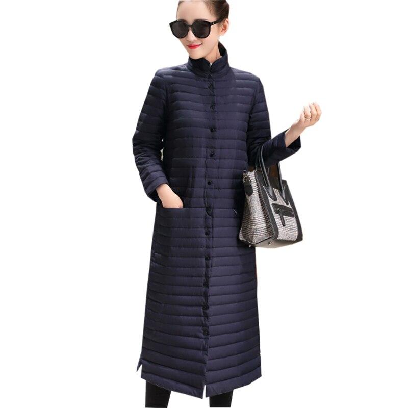 2017 Autumn Winter X-Long Light Thin   Down     Coat   Women Slim Parkas 90% White Duck   Down   Jacket Female Casual   Coats   RE0149