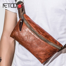 AETOO Mens Chest bag casual crossbody single shoulder pack retro tide male Multifunctional leather