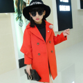 new 2016 autumn winter fashion solid turn down woolen girls coat casual long children jacket suit 3-12 age baby girl woolen coat