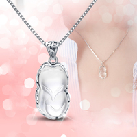 Lucky Neckalce Fox Pendant 925 Silver Women Japan South Korea Simple Natural Crystal White Fox Jewelry Girl Valentine Day Gift