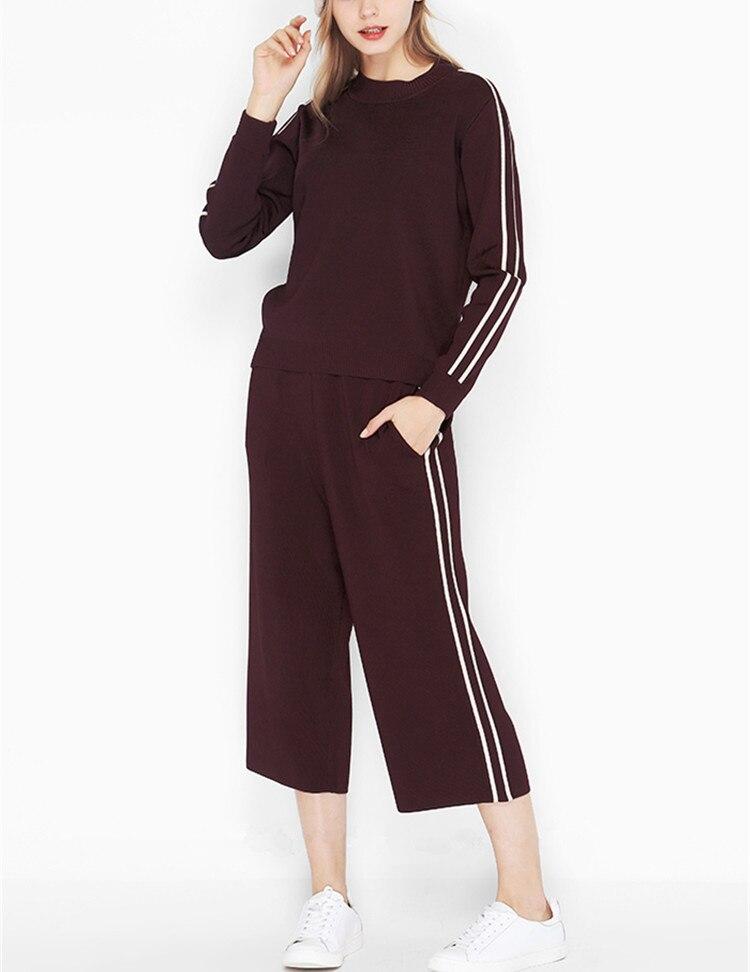 Veau S Dark Costumes Blue dark Pantalon Haute Qualité O ensemble m Pcs Chandail cou Tricoté l Femmes Mode Claret longueur Pull De 2 HafBv