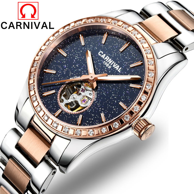 Carnival Hollow Out Automatic Watch Luxury Diamond Mechanical Watches Waterproof Luminous Clock Wristwatch relogios femininos