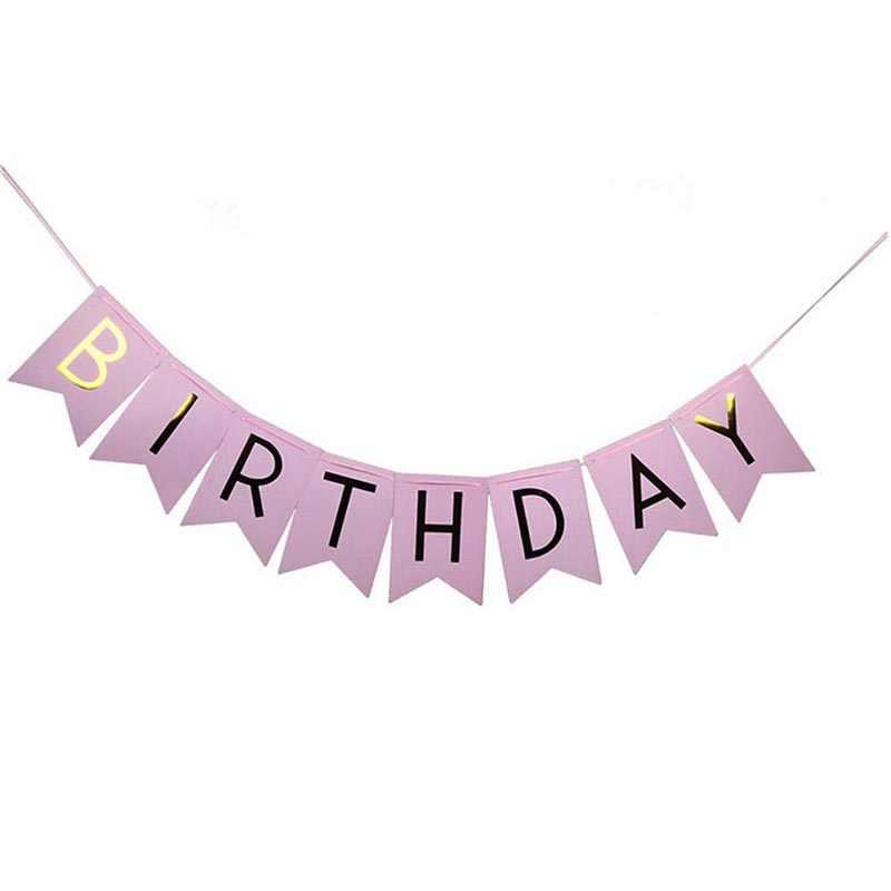 แบนเนอร์วันเกิด Happy Birthday Garland แขวน Gold Pastel Pink Gold ตัวอักษร Photo Props Bunting Garland งานแต่งงานตกแต่งเครื่องมือ