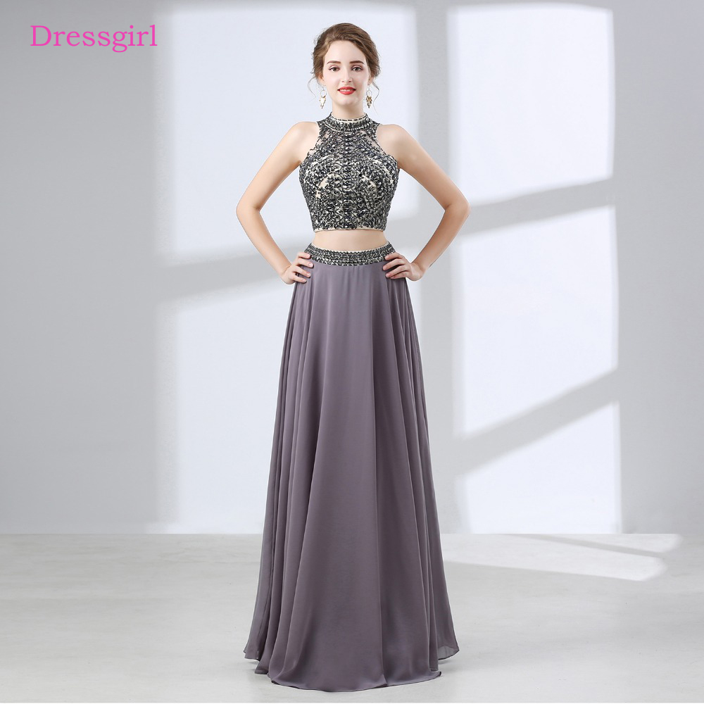 Gray 2019   Prom     Dresses   A-line High Collar Chiffon Crystals Backless Two Pieces Long   Prom   Gown Evening   Dresses   Robe De Soiree