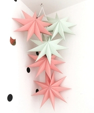 5pcs Folded Paper Star Lanterns Set 3D Hanging Stars for Wedding Birthday Showers Home Evening Party Windows Daily Decor