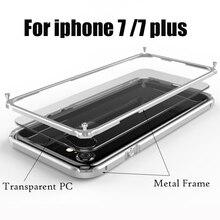 עבור Apple iPhone 7 מקרה aluminio מתכת ברור backplane יוקרה שריון טלפון מקרה אלומיניום מסגרת כיסוי עבור iPhone 7 בתוספת עמיד הלם