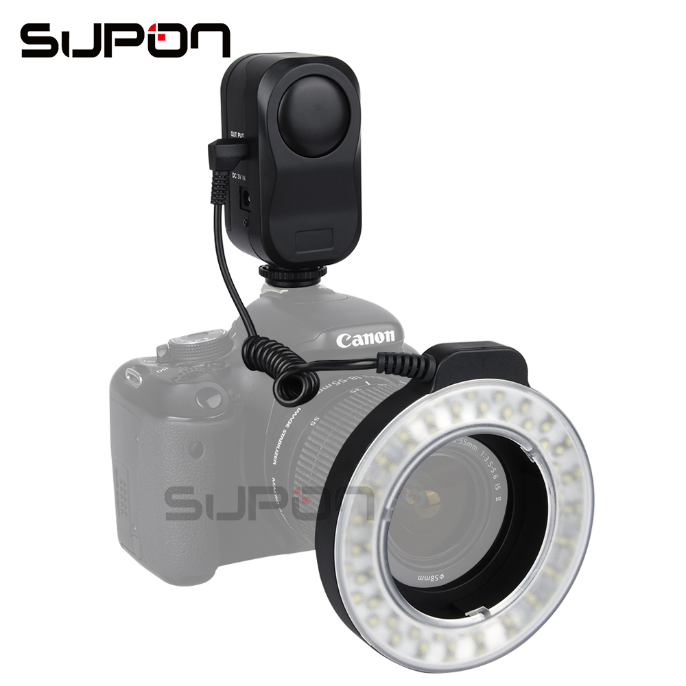 SUPON W48 200LM LED Macro Ring Flash Lighting with Ring Diffuser Filter 49mm/52mm/55mm/58mm/62mm/67mm for DSLR Camera wansen w48 4w 480lm 48 led makro macro ring lighting flash for canon nikon