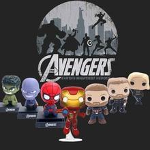 цена на 2019 New 3.6in Marvel Avengers Mini Dolls Hot Action Figure Toys Spiderman Hulk Iron Man Captain America gift for boyfriend