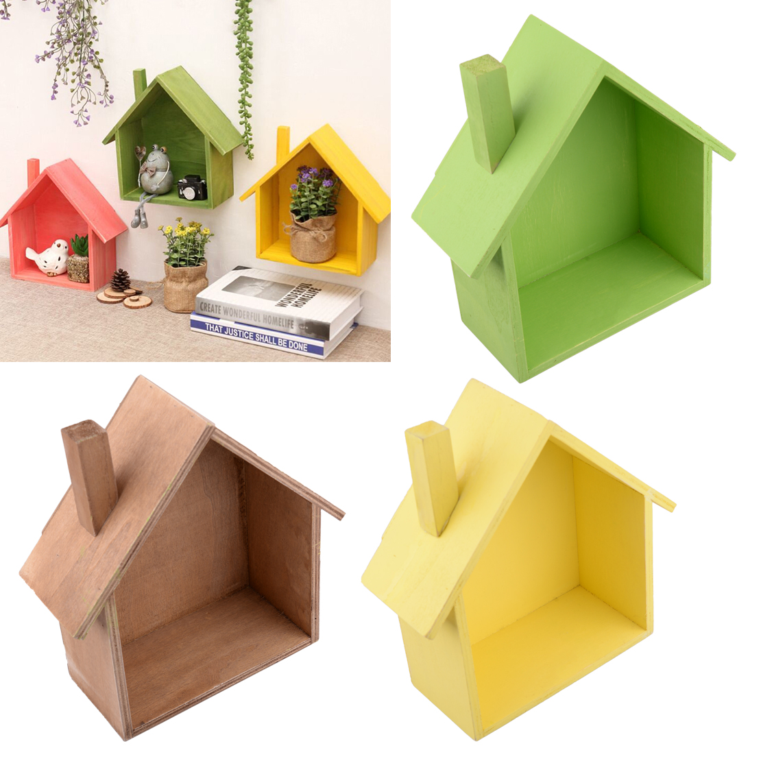 Living Room Wooden House Shaped Shelving Display Unit Wall Hanging ...