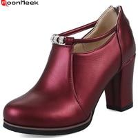 MoonMeek 2018 la venta caliente nuevo llegan las mujeres bombas negro vino blanco rojo señoras de la cremallera zapatos de primavera otoño zapatos de tacones altos