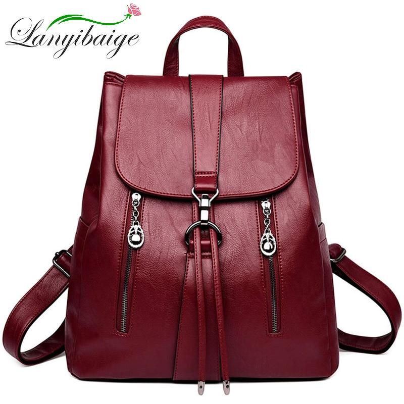 Fashion Double Zipper Drawstring Women Backpack Leather Bagpack Large Capacity Travel Bag Female Rucksack Shoulder Bag Mochila