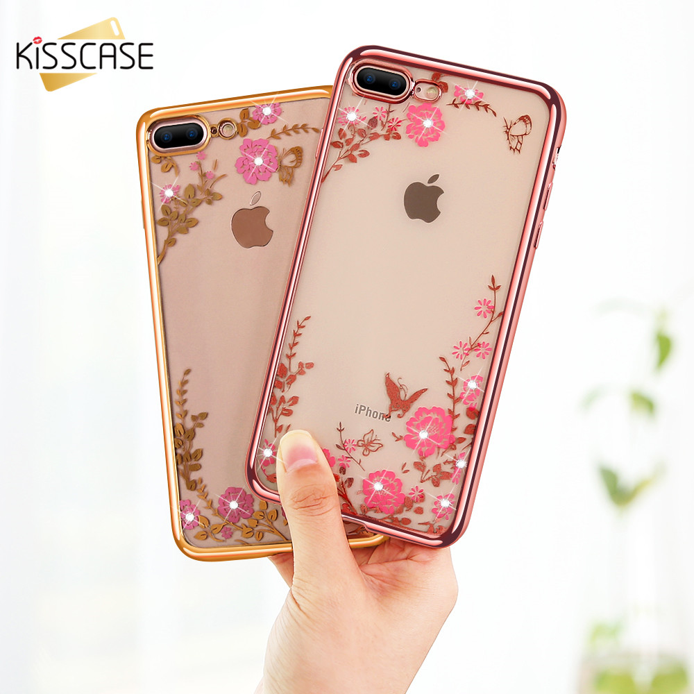 i6 6S 7 Plus Transparent Case For iPhone 6 6S 7 Plus Soft TPU Luxury Gold Plated White Pink Flower Vine Mobile Phone Cover Coque