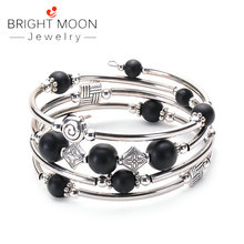 Bright Moon Fashion Jewelry Beaded Chakra Bracelet Wrap with Thick Silver Metal and Mala Beads