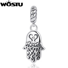 100% 925 Sterling Silver Lucky Hamsa Palm Charm Beads Fit Original WOST Bracelet Pendant Authentic DIY Jewelry Gift BKC031(China)