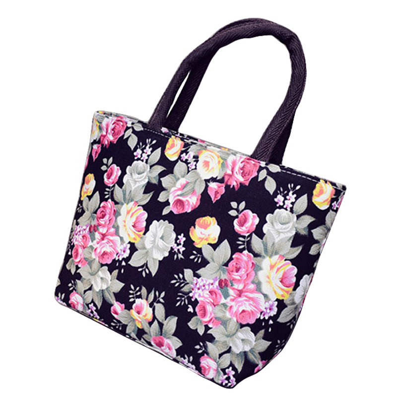 Handbags: Fashional Floral Printing Design Women Flap Handbag Quality Canvas Small Casual Tote Bag Women's Shopping Bag Free Shipping