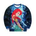 3D sweatshirt  women/men 2016 funny animal sweatshirts print cat/pizza/skull/cartoon/anime/space/galaxy/ pullover hoodie homme