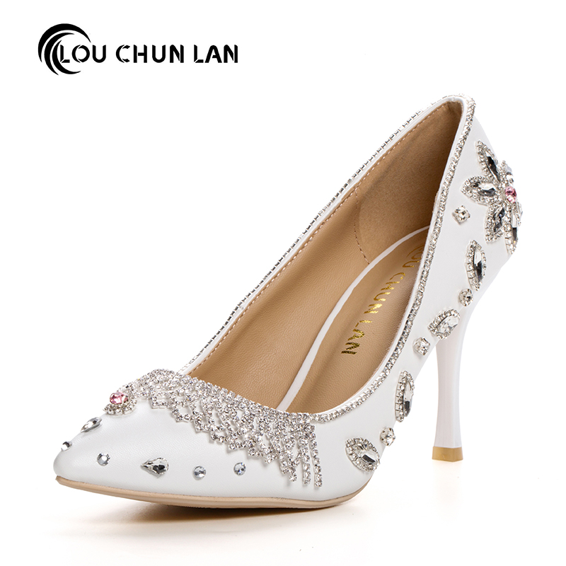 Women Pumps Pink crystal princess Shoes pointed toe White rhinestone Bridal Shoes Women's thin Heels Shoes Wedding Shoes party купить