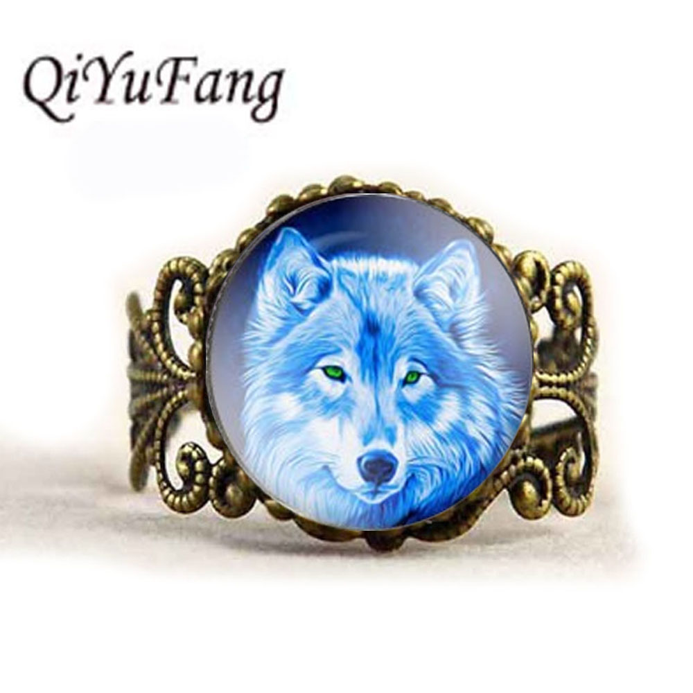 QiYuFang Tree of the lift Howling Wolf Ring Pendant Handmade Jewelry Glass Rings Men Women Girl Family Gift Idea