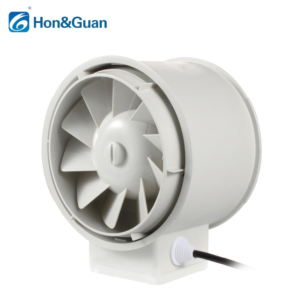 Hon&Guan 5'' Silent Inline Duct Fan Exhaust Fan Hydroponic Air Blower for Home Bathroom Vent and Grow Room Ventilation; HP-125P