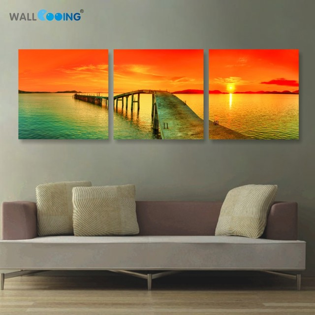 2017 3 panels canvas painting Modular pictures setting spray ...