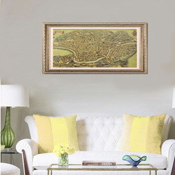 TIE LER Ancient Old City Map Ancient Rome Poster Kraft Paper Home Decor Wall Sticker 72x32cm
