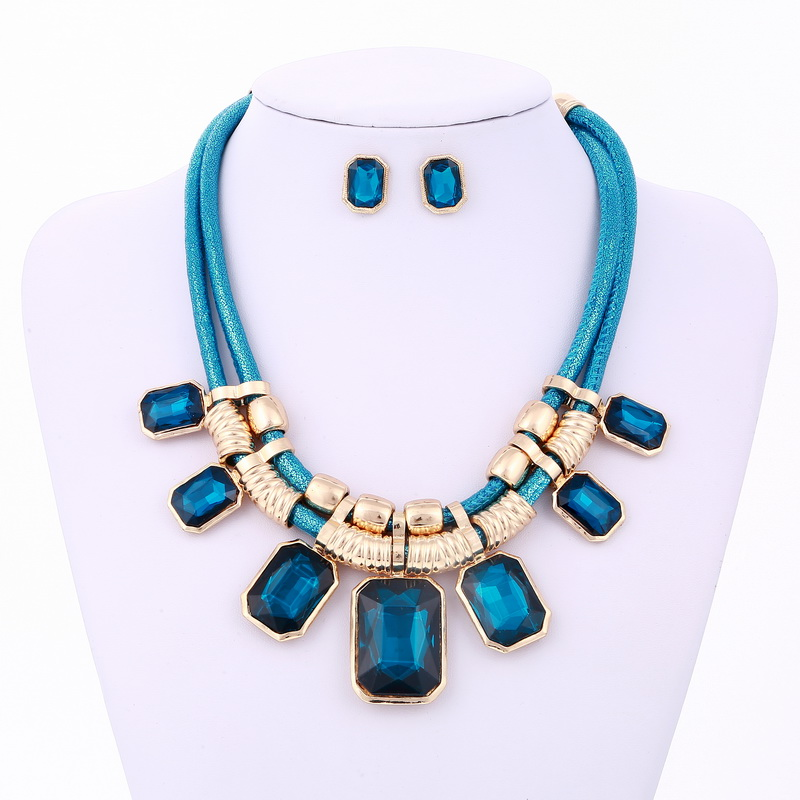 Fashion Jewelry Sets Bohemian Geometry Crystal Beads Multi-layer Statement Necklace Earrings Set Wedding Acrylic Leather Chain bohemian beads necklace and earrings