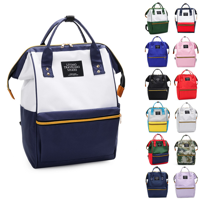 Fashion Canvas Casual Color Backpack Girls Boys Student School Bag Women Shoulder Bag Men New Trand Large Capacity Tote