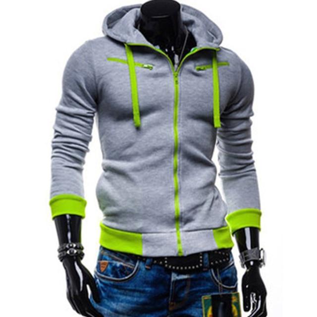 Fioday Brand 2016 Men's Stylish Slim Fit Warm Hooded Sweatshirt Zipper Coat Jacket Outwear Fashion Men Hoodie Jacket XXL