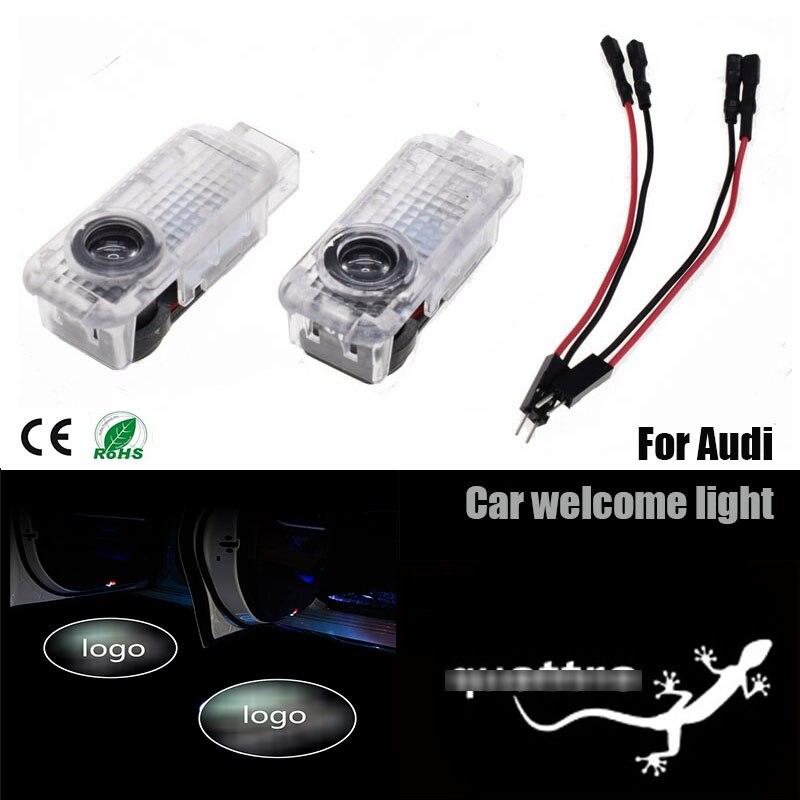 2 pièces logo de voiture LED Lumière PourAudi S ligne Quattro a3 a4a5 a6 Porte Fantôme Ombre Lumière de Projecteur de Laser Emblème