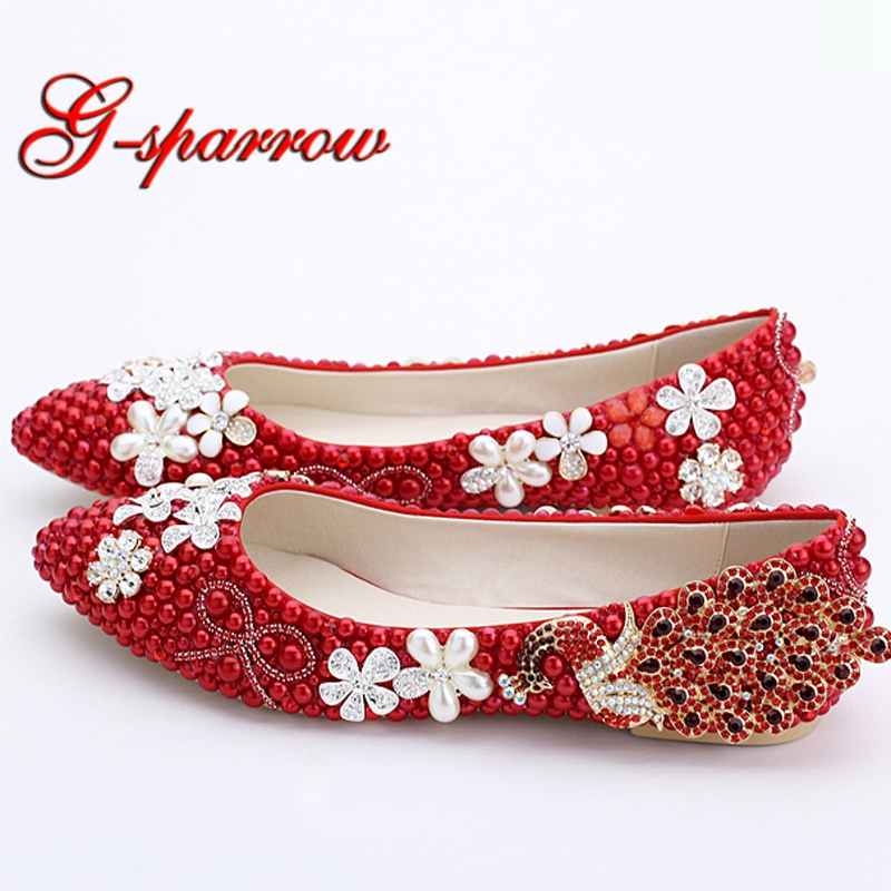 Classic Women Wedding Shoes Red Pearl Flats Phoenix Rhinestone Bridesmaid Shoes Lady Spring Flat Heel Party