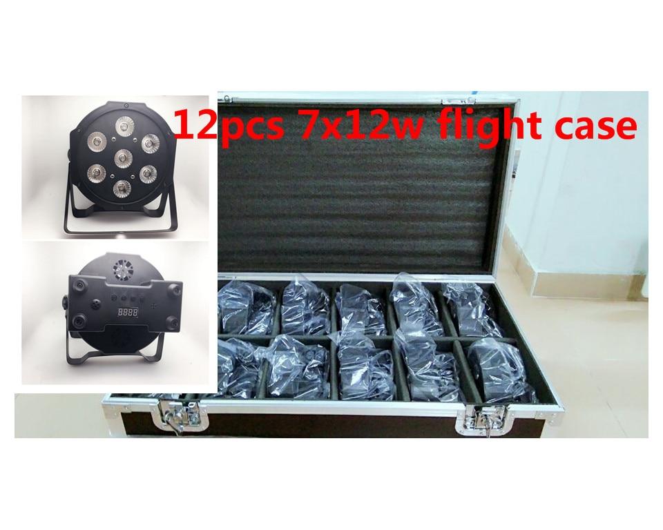 12 unids 7x12 W + flightcase + 12 m cable Dmx LED Flat SlimPar Quad Luz 4in1 LED lampara de luz de la Etapa de dmx DJ Luz de la