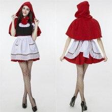 Más tamaño trajes de cosplay para adultos juegos de rol caperucita roja fancy dress mujeres de halloween y carnaval del partido atractivo del club traje