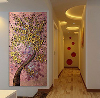 Handpainted Abstract Money Tree Oil Paintings On Canvas Golden Tree Pink Background Wall Picture Modern Decor Free Shipping Art