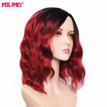 """Feilimei синтетические розовые красные парики термостойкие волосы для черных женщин 1"""" длинные волнистые женские парики для косплея Омбре"""