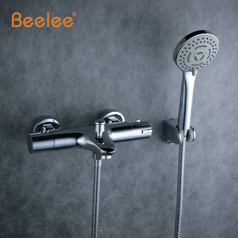 Beelee High Quality Chrome Wall Mounted Bathroom Thermostatic Faucet,Thermostatic Valve Bathroom Shower Faucet,Bathtub Faucet yanksmart wall mounted thermostatic faucet double handles faucet spout filler diverter chrome bathtub shower faucet valve mixer