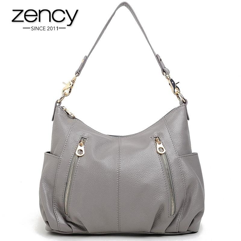 Zency 100 Genuine Leather Handbag Fashion Women Shoulder Bag Casual Tote More Pockets Design Female Messenger