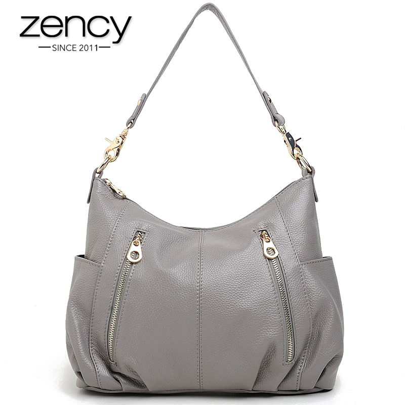 Zency 100% Genuine Leather Handbag Fashion Women Shoulder Bag Casual Tote More Pockets Design Female Messenger Crossbody Purse