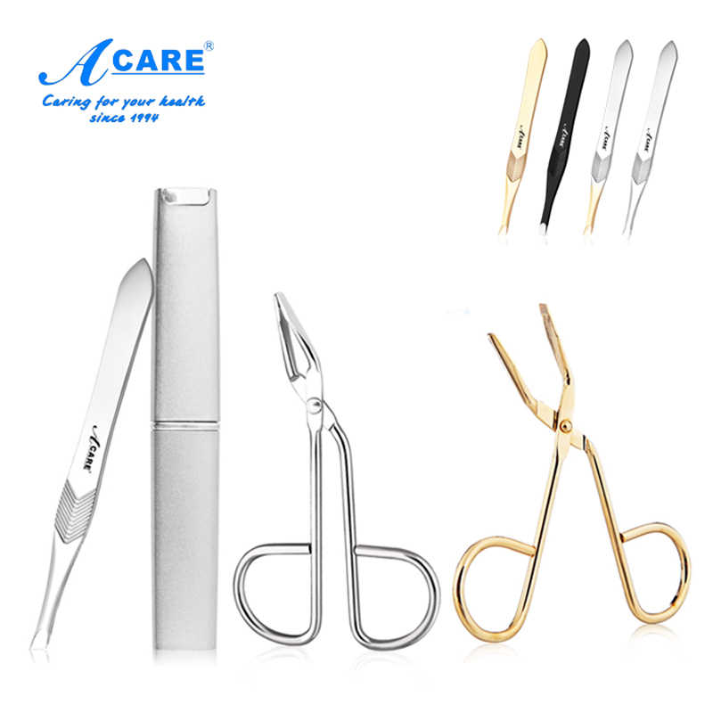 Eyebrow Tweezers Scissors Clamp Harmless Compact Hair  Beauty Slanted Stainless Steel Professional Tools Makeup Plucking Clean
