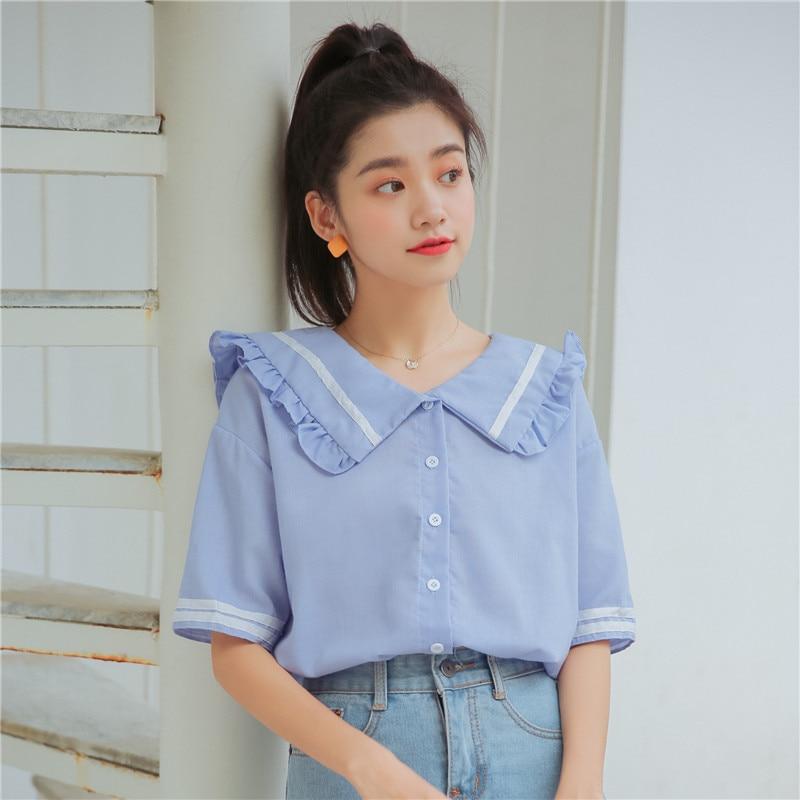 2 Colors 2018 Autumn Navy Collar Long Sleeve Shirts Women