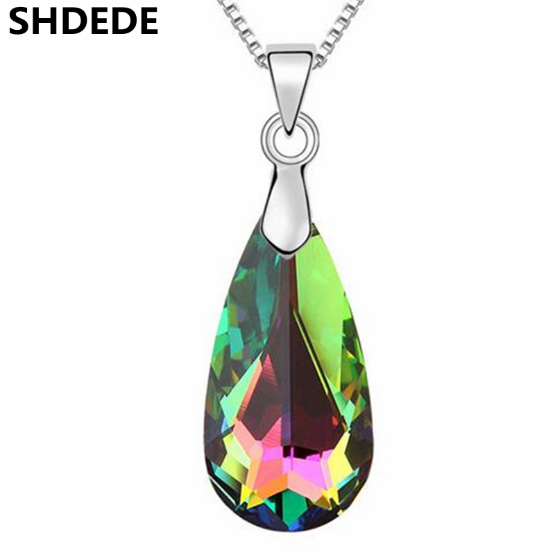 995c73ed1 SHDEDE 2018 New Teardrop Necklace Pendants Crystal from Swarovski Elements Fashion  Jewelry Women Gift -10758
