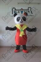 Rot körper gelb cape panda cartoon maskottchen kostüm
