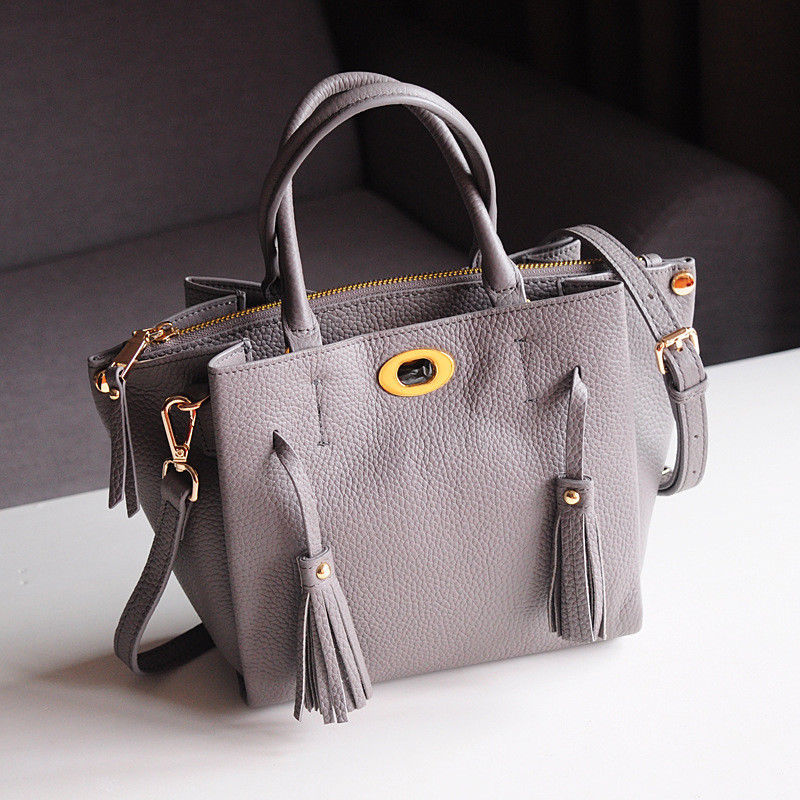 2018 Genuine Leather Casual Tote Bag Women Crossbody Shoulder Messenger Bag Top Handle Tassel Office Handbag Elegant Purse women bag set top handle big capacity female tassel handbag fashion shoulder bag purse ladies pu leather crossbody bag